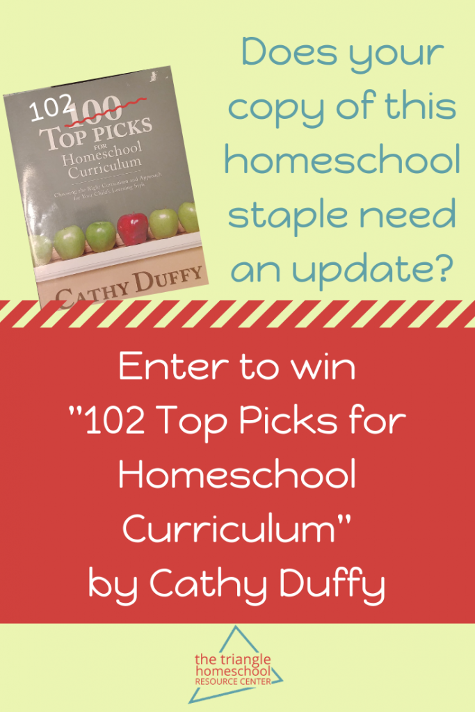 Enter the giveaway for 102 Top Picks for Homeschool Curriculum by Cathy Duffy
