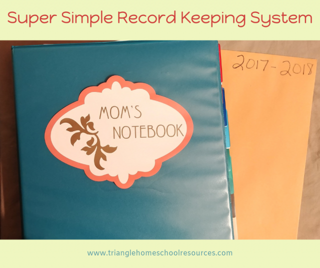 Notebook and envelope system for keeping homeschool records
